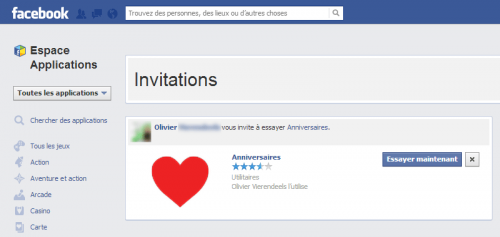 Inivtations App Center Facebook