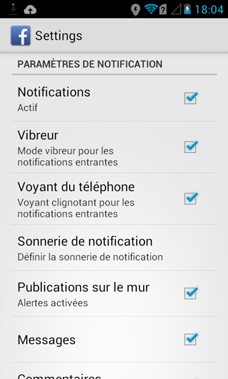 Notifications Facebook pour Android