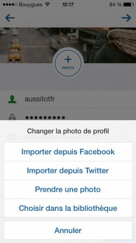 Instagram - Importer photo