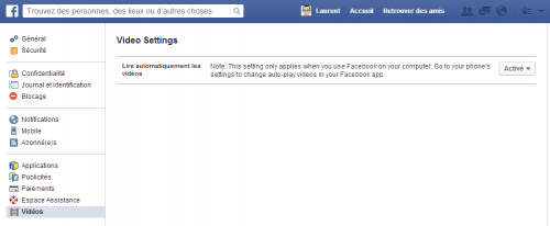 Facebook - Video settings