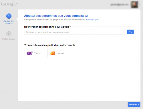 Google+ - Contacts Yahoo et Hotmail