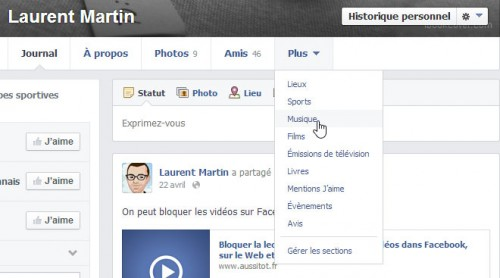 Sections profil Facebook