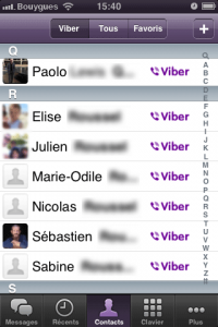 L'interface de Viber