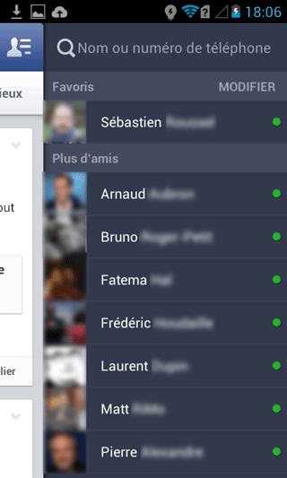 Facebook mobile - amis connectés