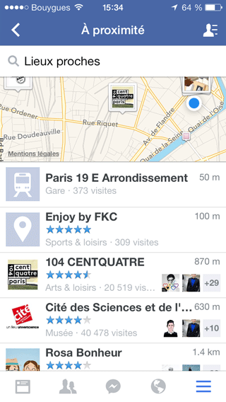 Facebook - lieux proches